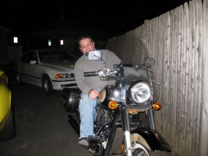 Tony's on a bike!!! Be very afraid!!